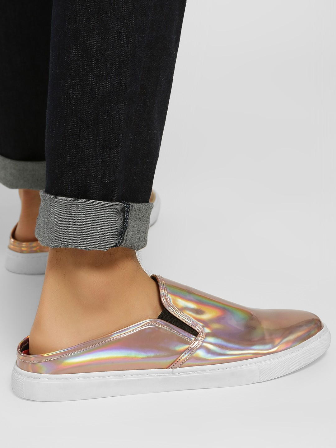 KOOVS Gold Backless Metallic Casual Shoes 1