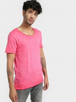 KOOVS Pigment Wash Scoop Neck T-Shirt