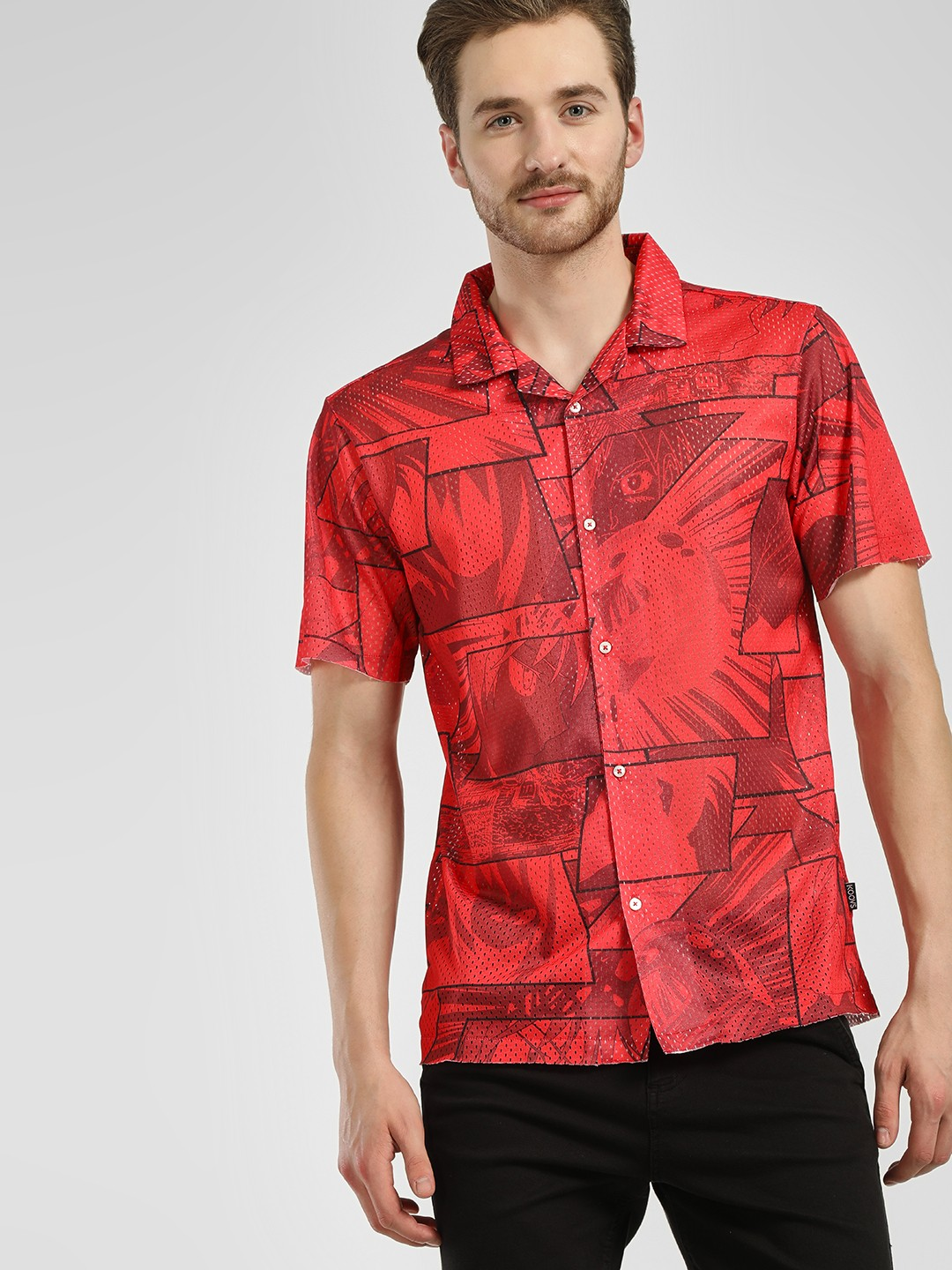 KOOVS Red Manga Art Print Mesh Shirt 1