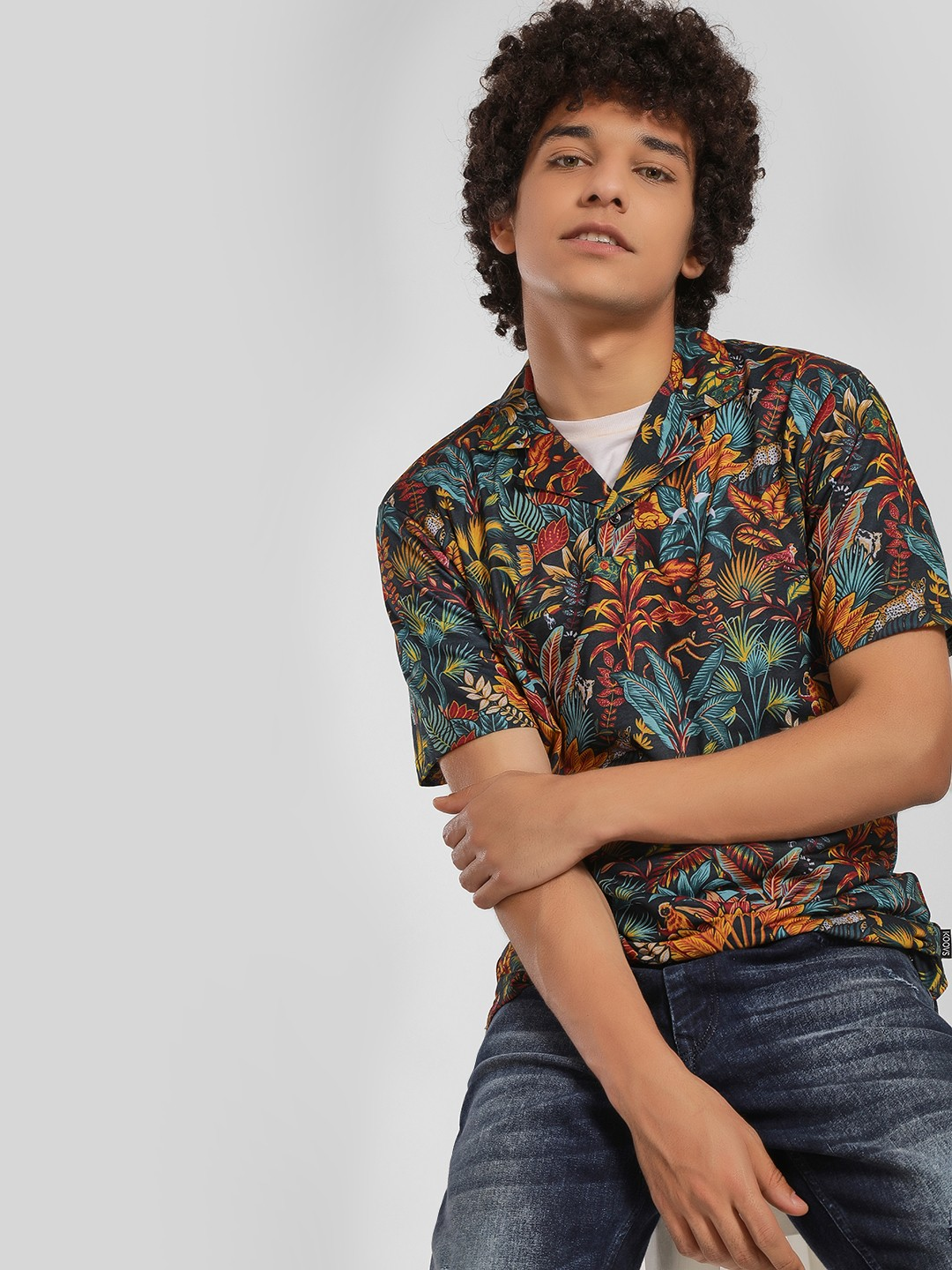 KOOVS Multi Jungle Foliage Cuban Polo Shirt 1