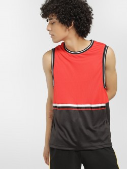 KOOVS Colour Block Mesh Sports Vest