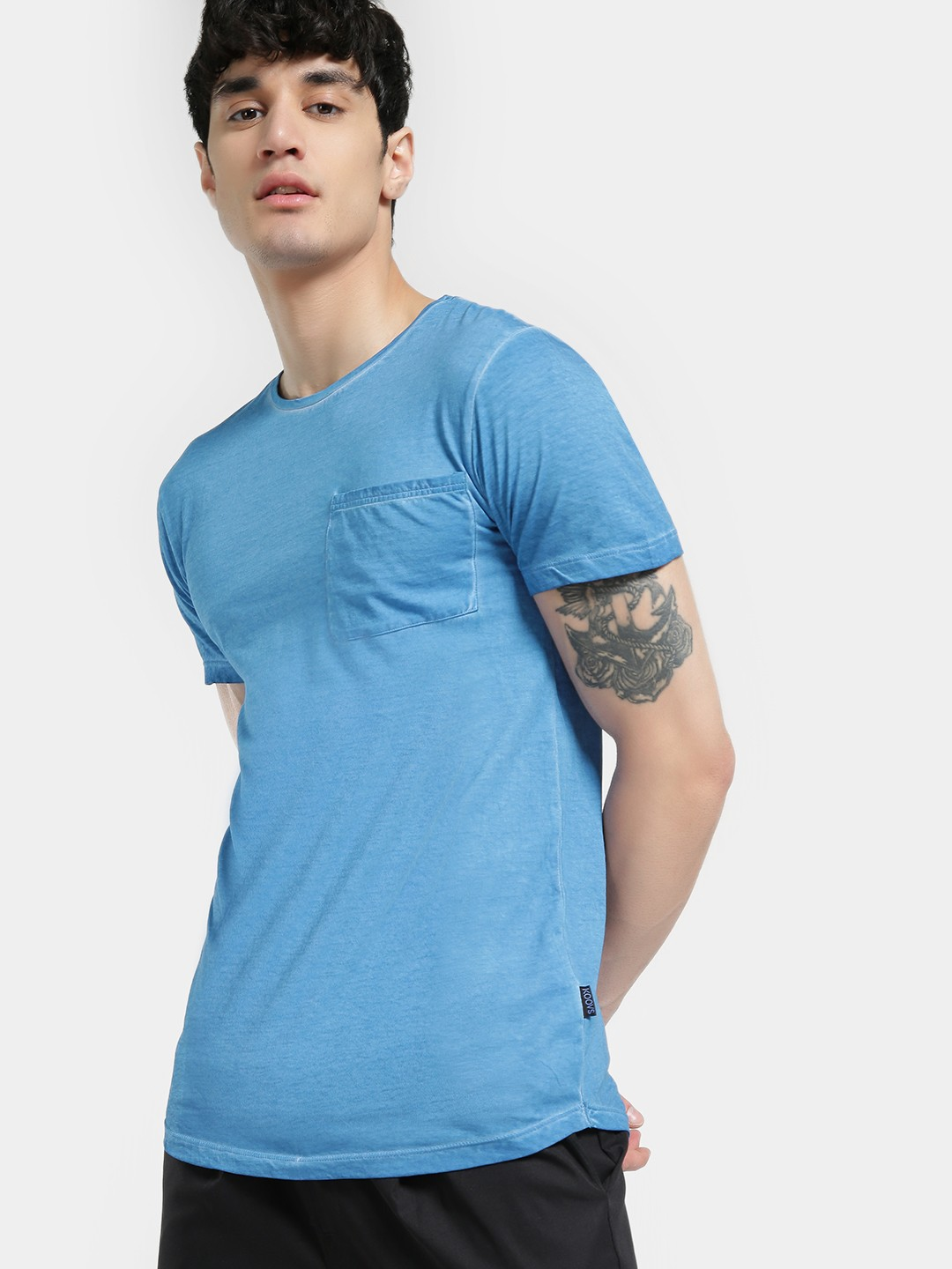 KOOVS Blue Pigment Wash Pocket T-Shirt 1