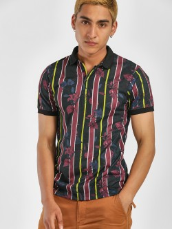 KOOVS Stripe Tropical Print Polo Shirt