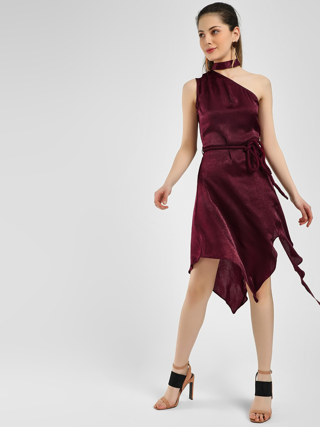 KOOVS Maroon Choker Neck Asymmetric Dress 1