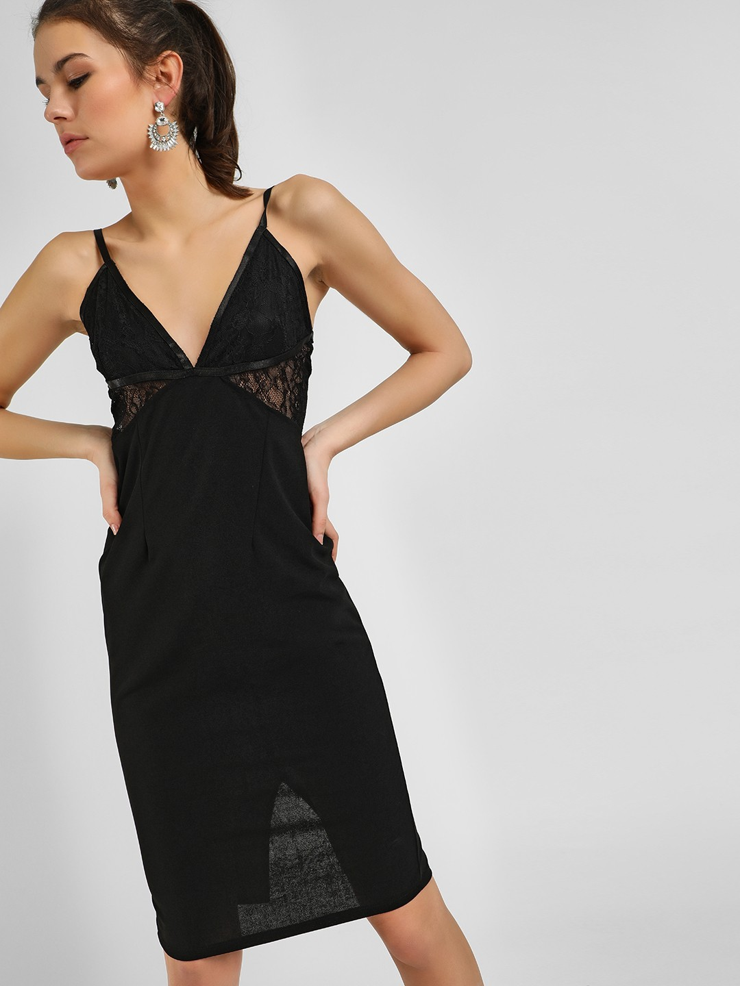 Ax Paris Black Lace Plunge V-Neck Bodycon Dress 1