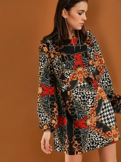 Ax Paris Baroque Print Shift Dress