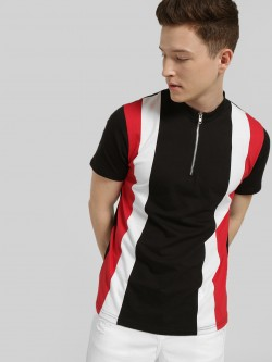 Blotch Colour Block Stripe Zipper T-Shirt