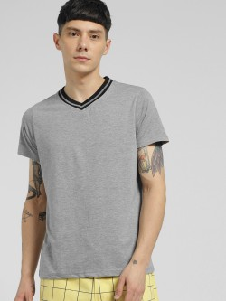 Blotch Melange Ribbed V-Neck T-Shirt