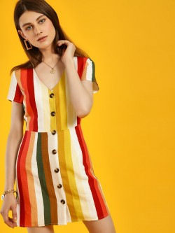 Glamorous Multi-Stripe Buttoned Shift Dress