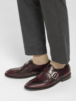 KOOVS Two-Tone Burnished Buckle Loafers