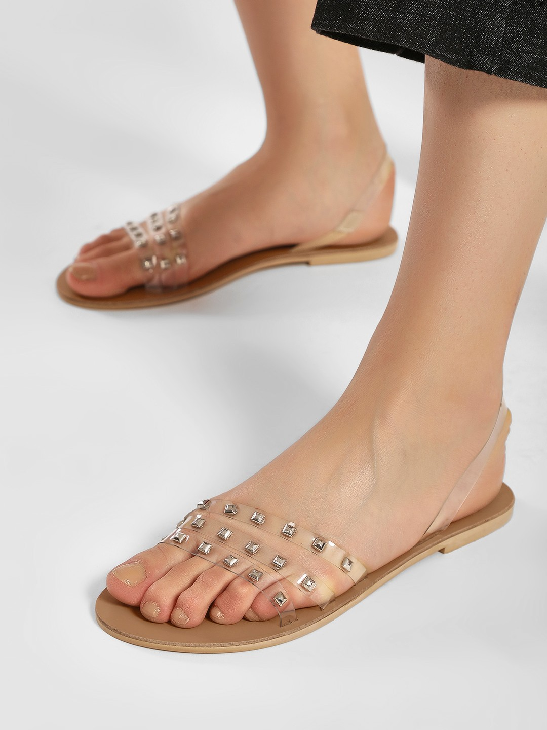 KOOVS Clear Clear Strap Studded Slingback Sandals 1