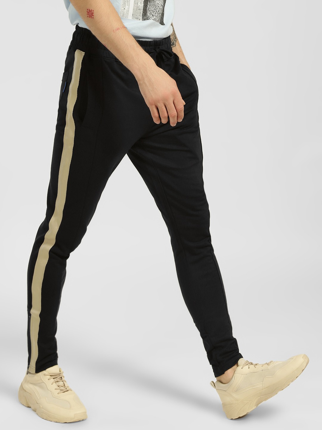 Blue Saint Black Contrast Side Tape Skinny Joggers 1