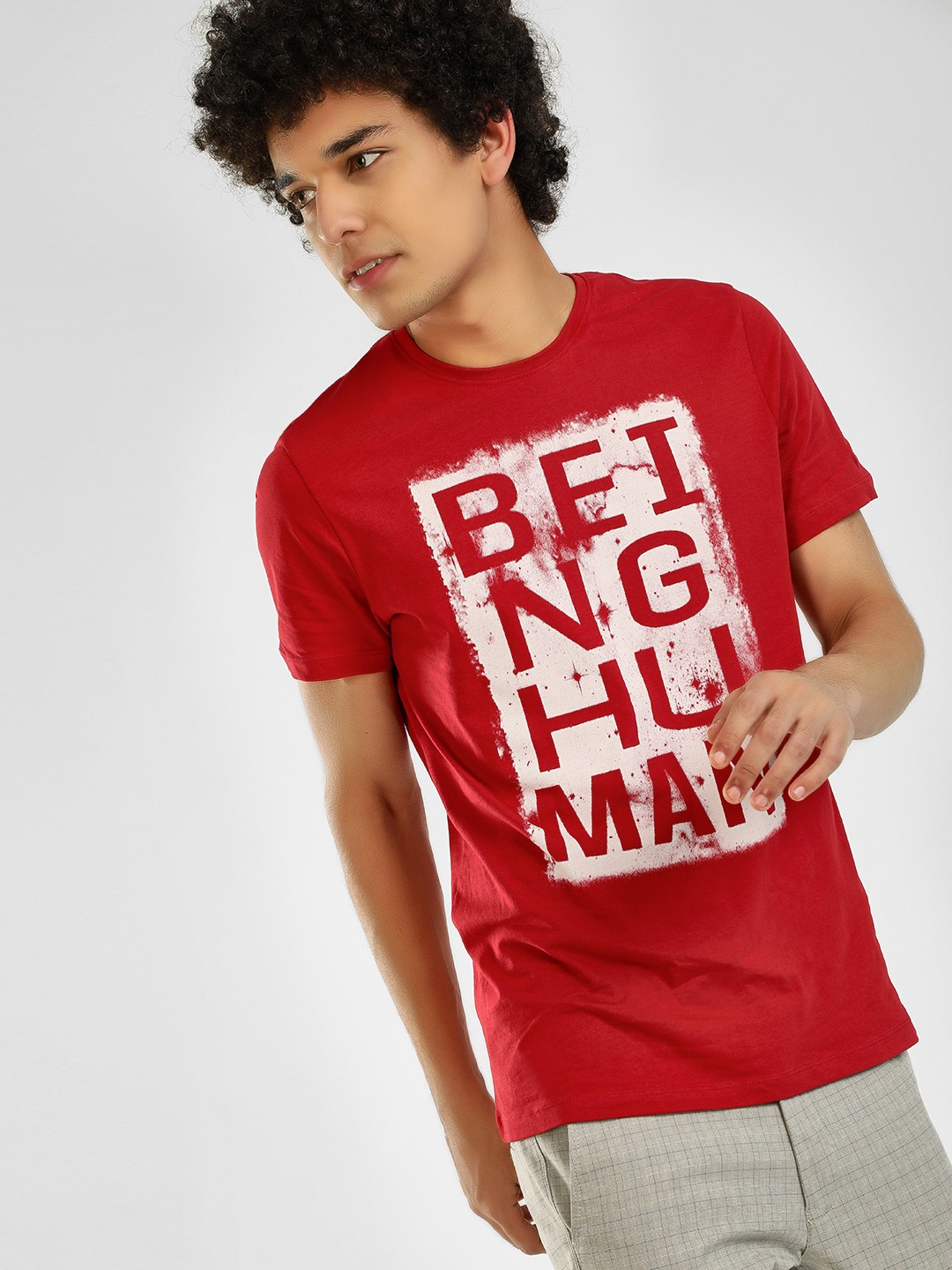 Being Human Red Logo Placement Print T-Shirt 1