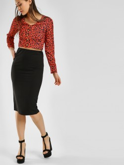 KOOVS Back Slit Pencil Skirt