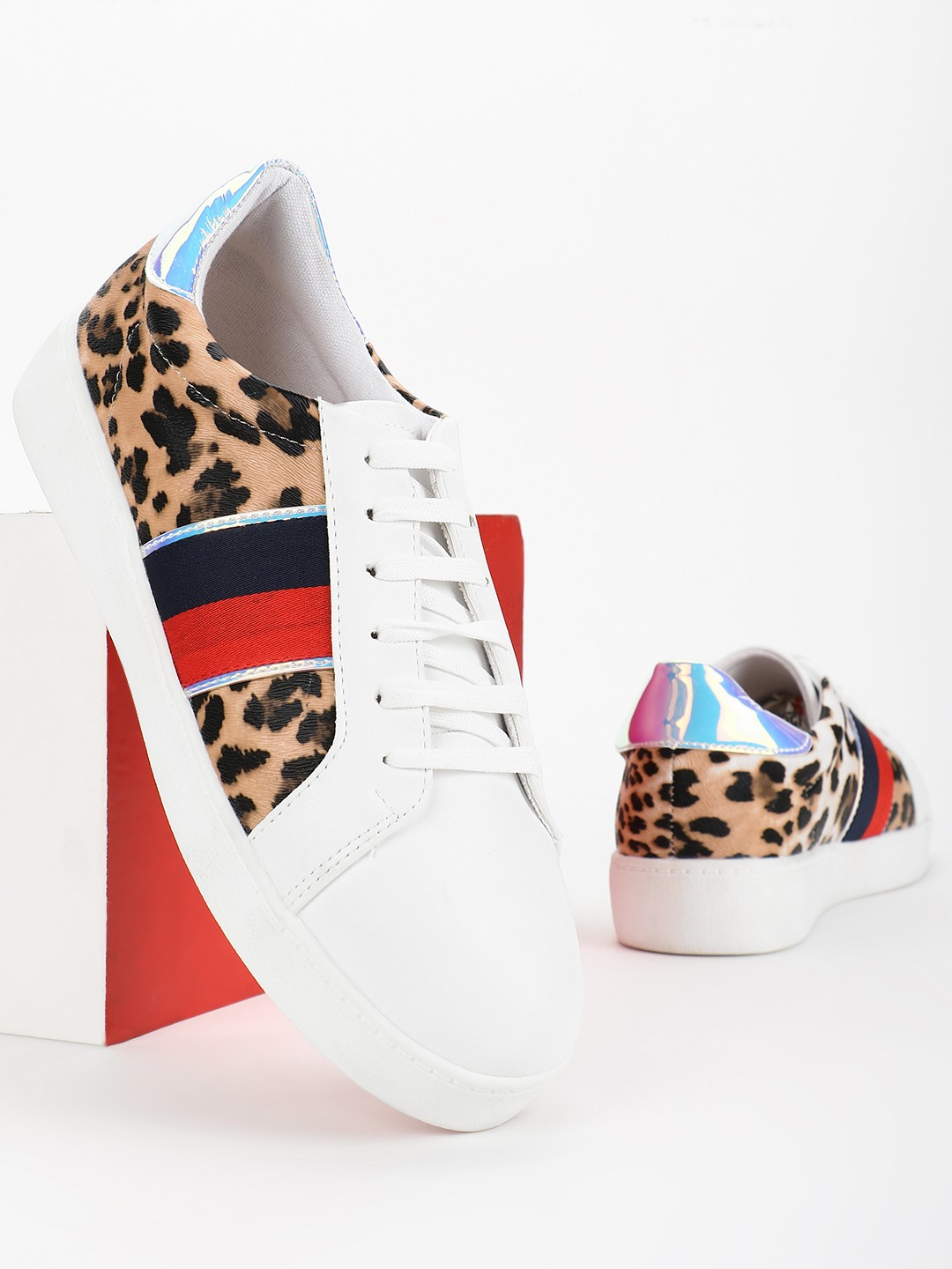 My Foot Couture Brown Holographic Panel Animal Print Sneakers 1