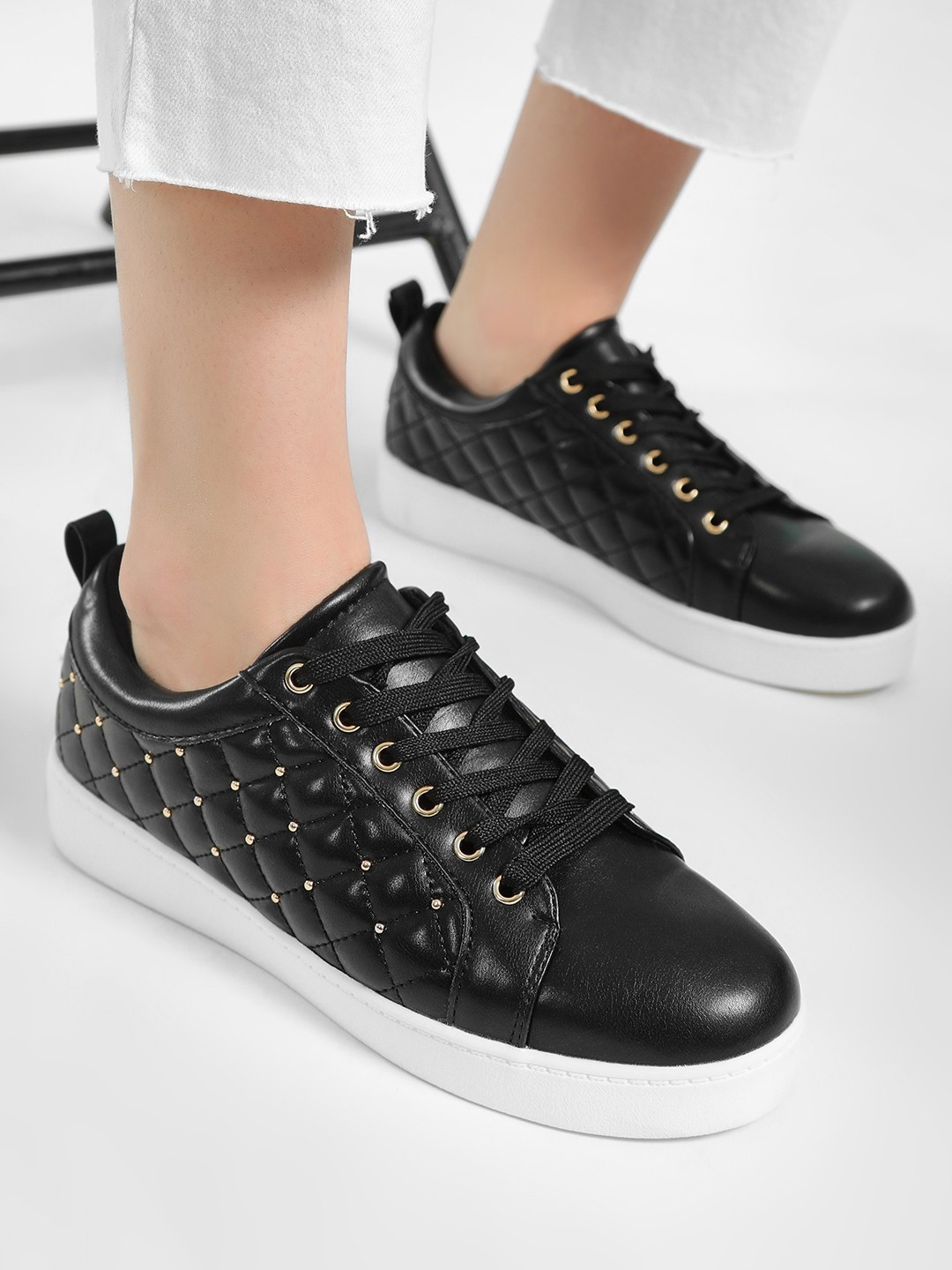 My Foot Couture Black Quilted & Studded Sneakers 1