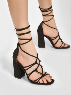 No Doubt Patent Gladiator Block Heel Sandals