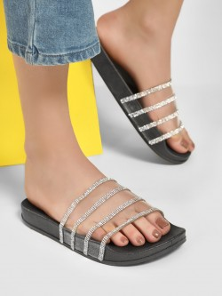 No Doubt Diamante Embellished Clear Strap Sliders