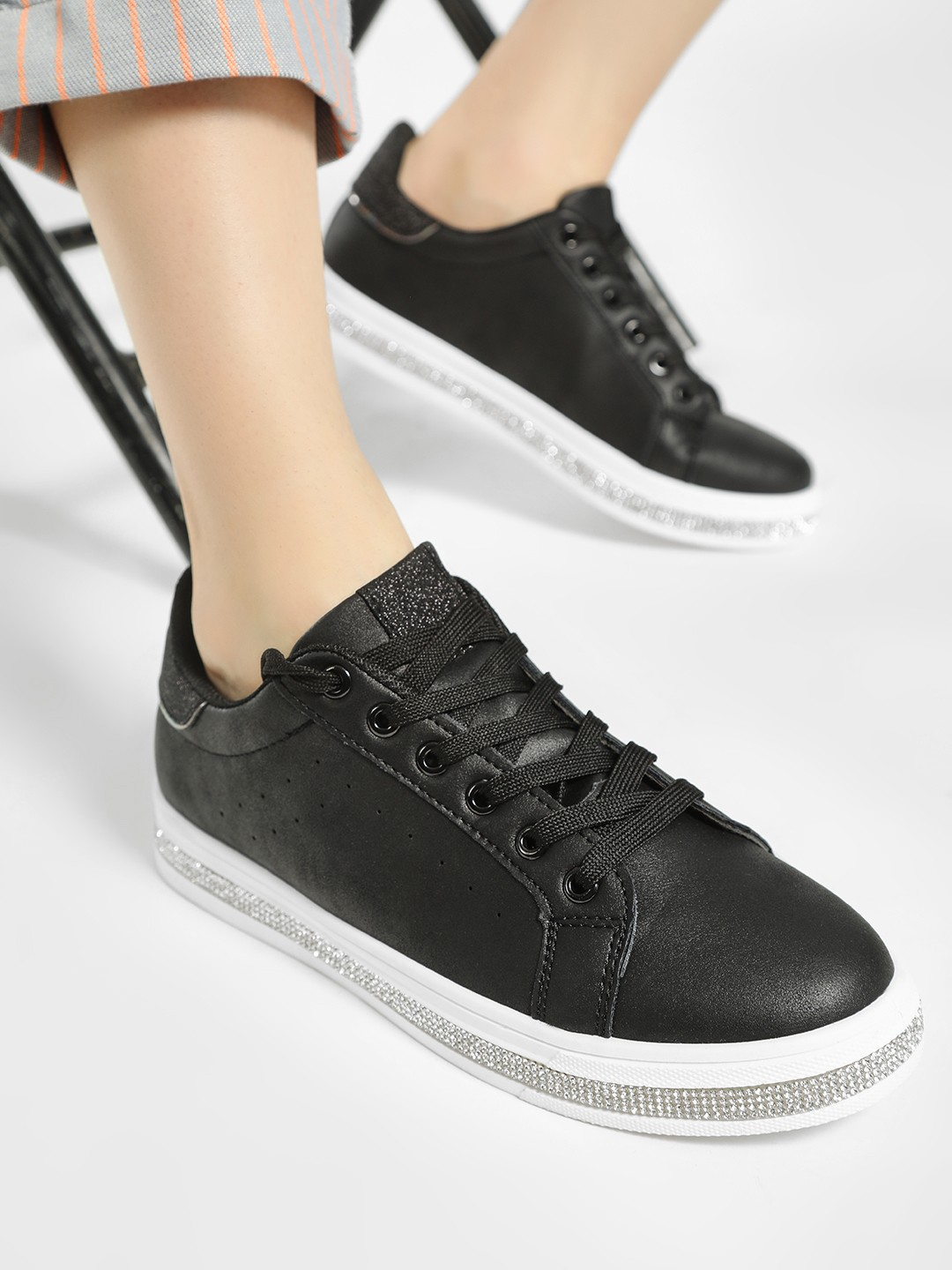 No Doubt Black Crystal Embellished Sole Sneakers 1