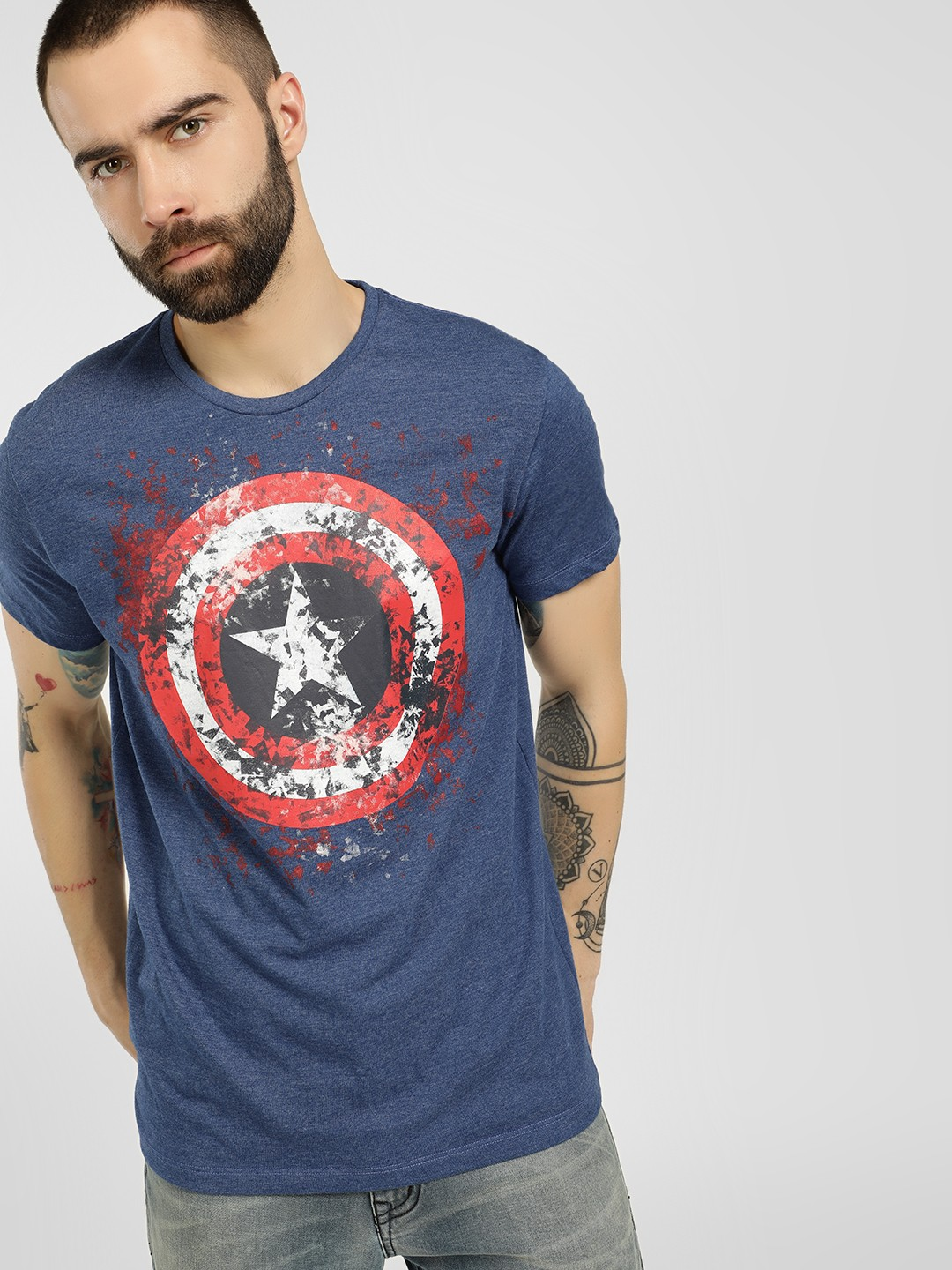 Free Authority Blue Avengers Placement Print T-Shirt 1