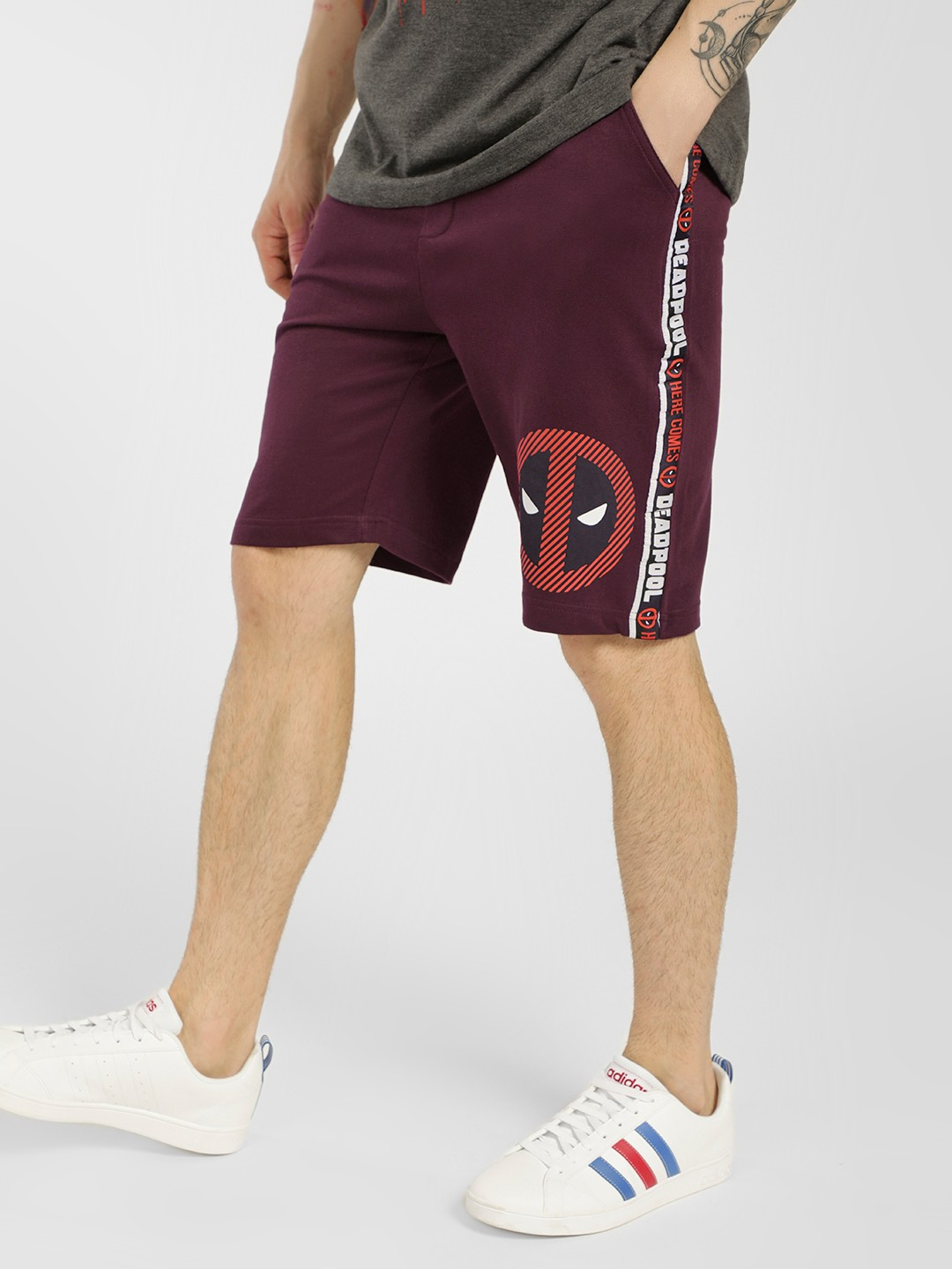 Free Authority Purple Deadpool Side Tape Shorts 1