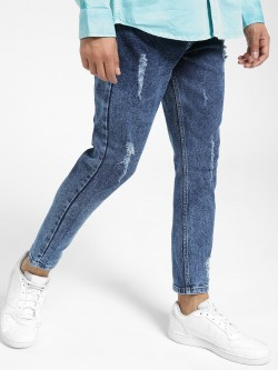 KOOVS Distressed Ice Wash Slim Jeans