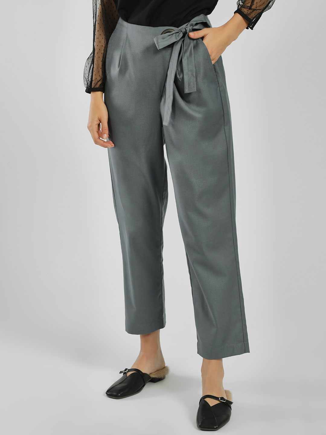 PostFold Blush Side Tie-Up Formal Trousers 1