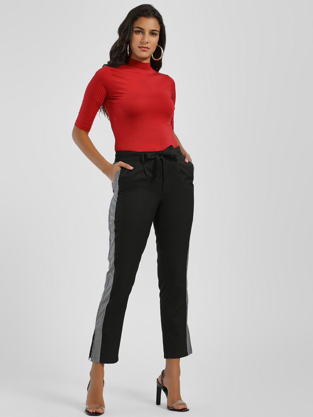 PostFold Black Side Tape Cropped Trousers 1