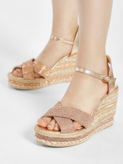 KOOVS Diamante Embellished Espadrille Wedges