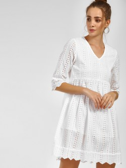 Sbuys Broderie Scalloped Hem Shift Dress