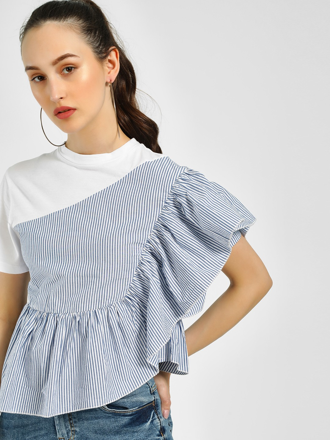 Sbuys Multi Striped Frill Detail Blouse 1