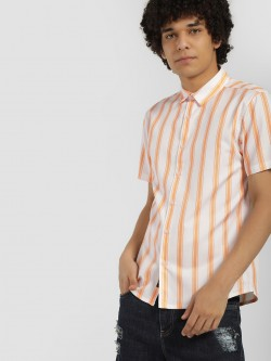 KOOVS Vertical Stripe Short Sleeve Shirt