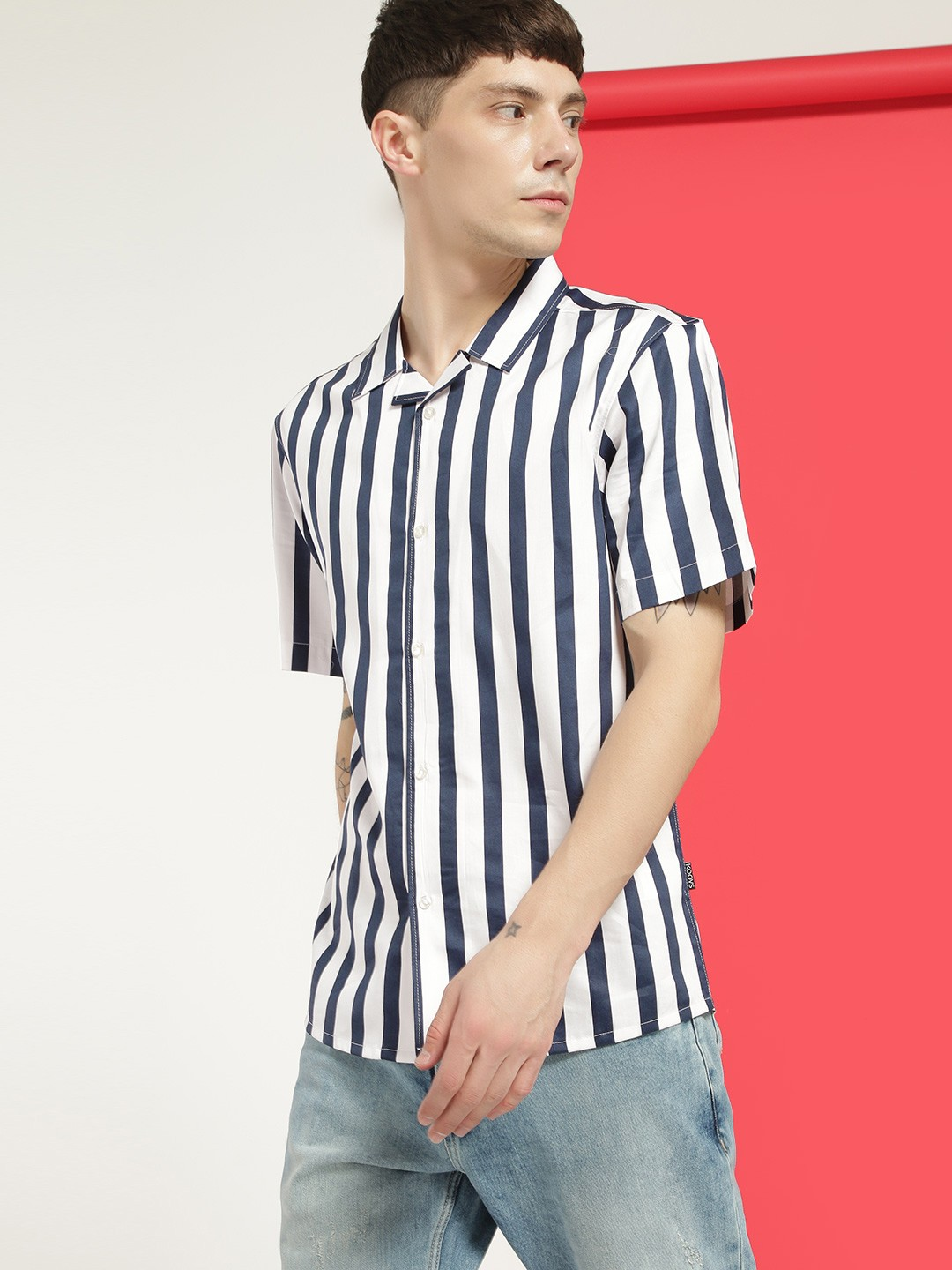 KOOVS Multi Bold Stripe Cuban Collar Shirt 1