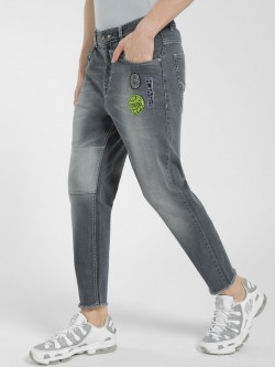 K Denim KOOVS Light Wash Badge Slim Jeans