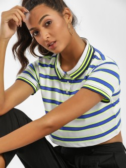 KOOVS Multi-Stripe Crop Polo T-Shirt