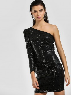 Cover Story One Shoulder Studded Sequin Bodycon Dress