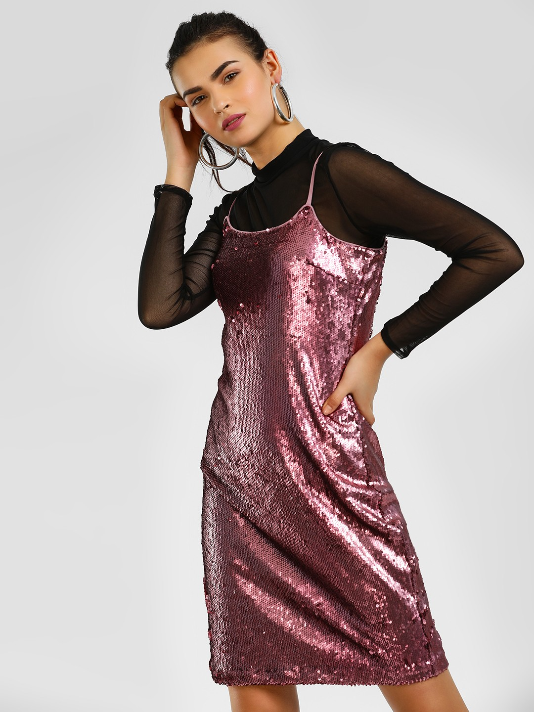 Cover Story Pink Strappy Sequin Shift Dress 1