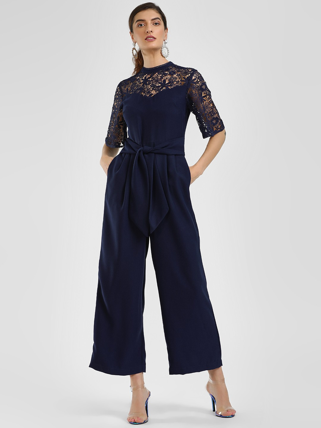 Cover Story Navy Blue Lace Embroidered Tie-Up Jumpsuit 1
