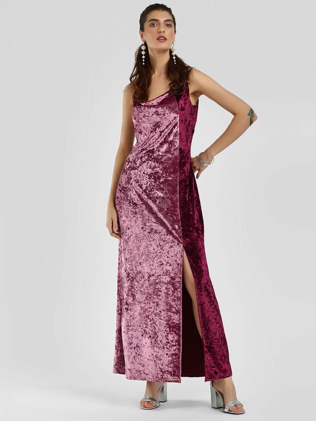 Cover Story Pink Front Slit Velour Maxi Dress 1