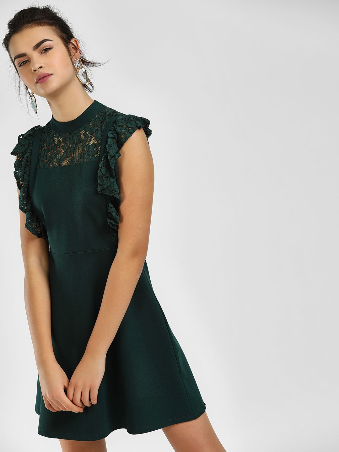 Cover Story Green Lace Ruffle Neck Skater Dress 1
