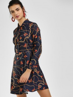 Cover Story Butterfly Baroque Print Shirt Dress