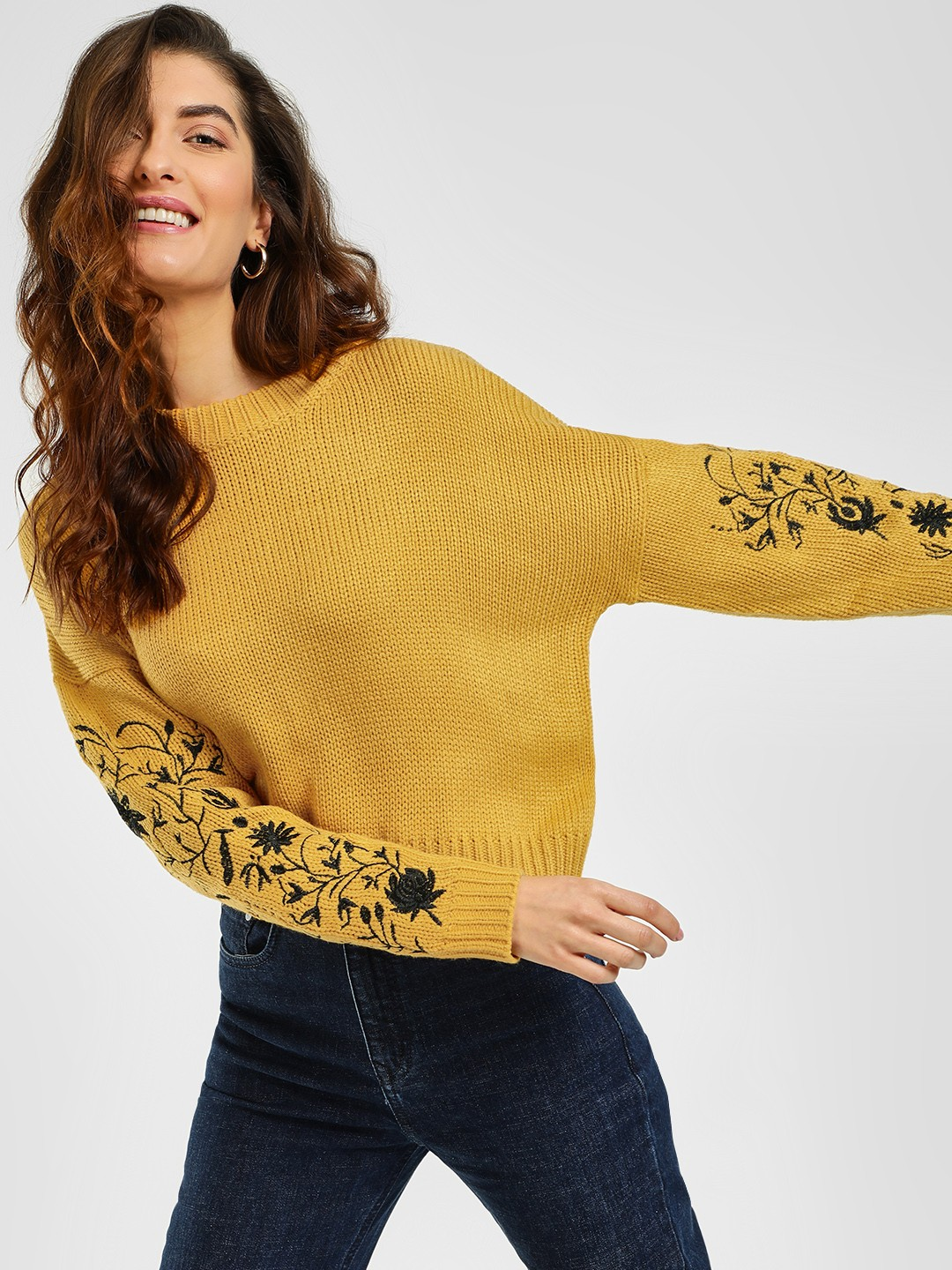 Cover Story Mustard Floral Embroidered Sleeve Pullover 1