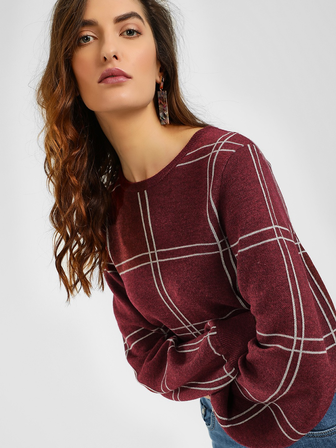 Cover Story Wine Windowpane Check Ribbed Pullover 1