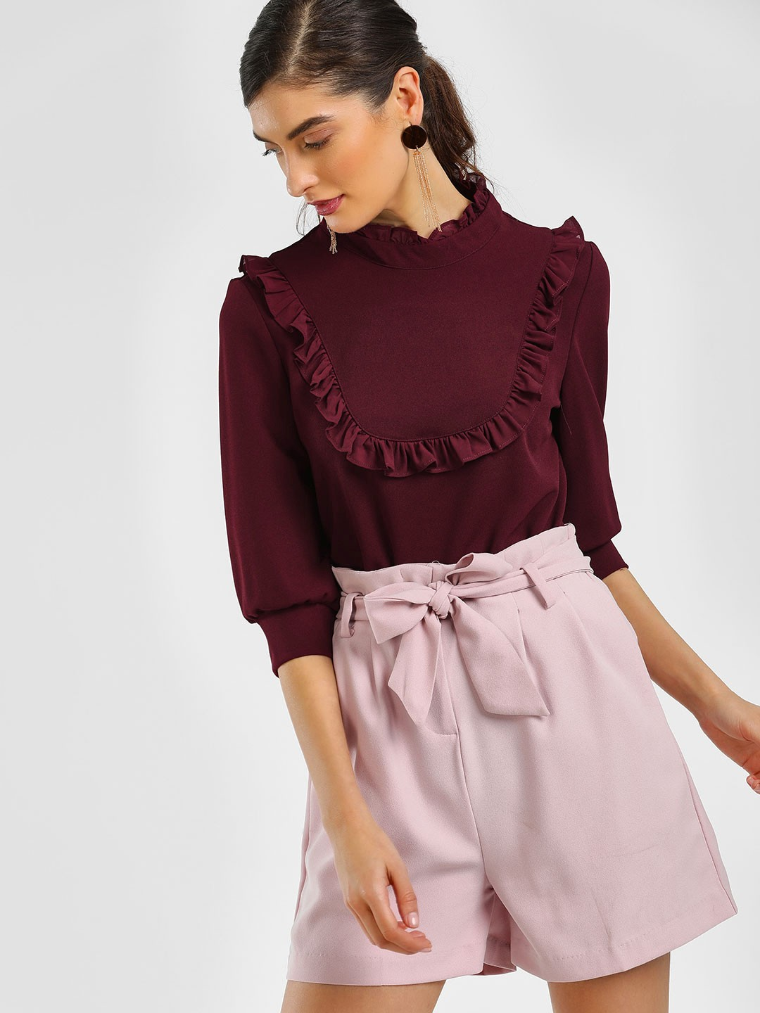 Cover Story Wine Ruffled Neck Puff Sleeve Blouse 1