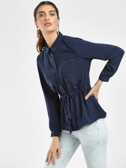 Cover Story Front Tie-Up Long Sleeve Shirt