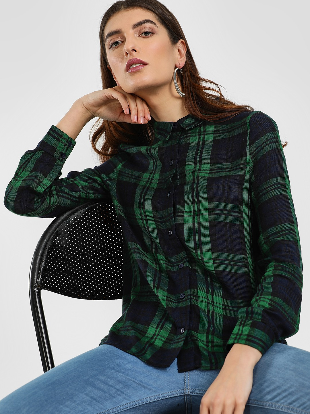Cover Story Green Multi-Check High Low Shirt 1