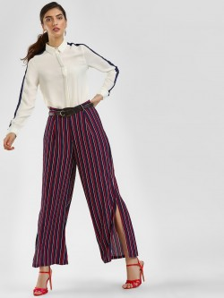 Cover Story Striped Split Side Trousers