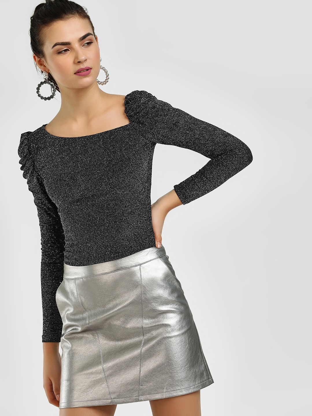 Cover Story Black Puffed Sleeve Asymmetric Neck Blouse 1