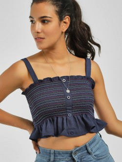 Iris Smocked Flared Hem Crop Top
