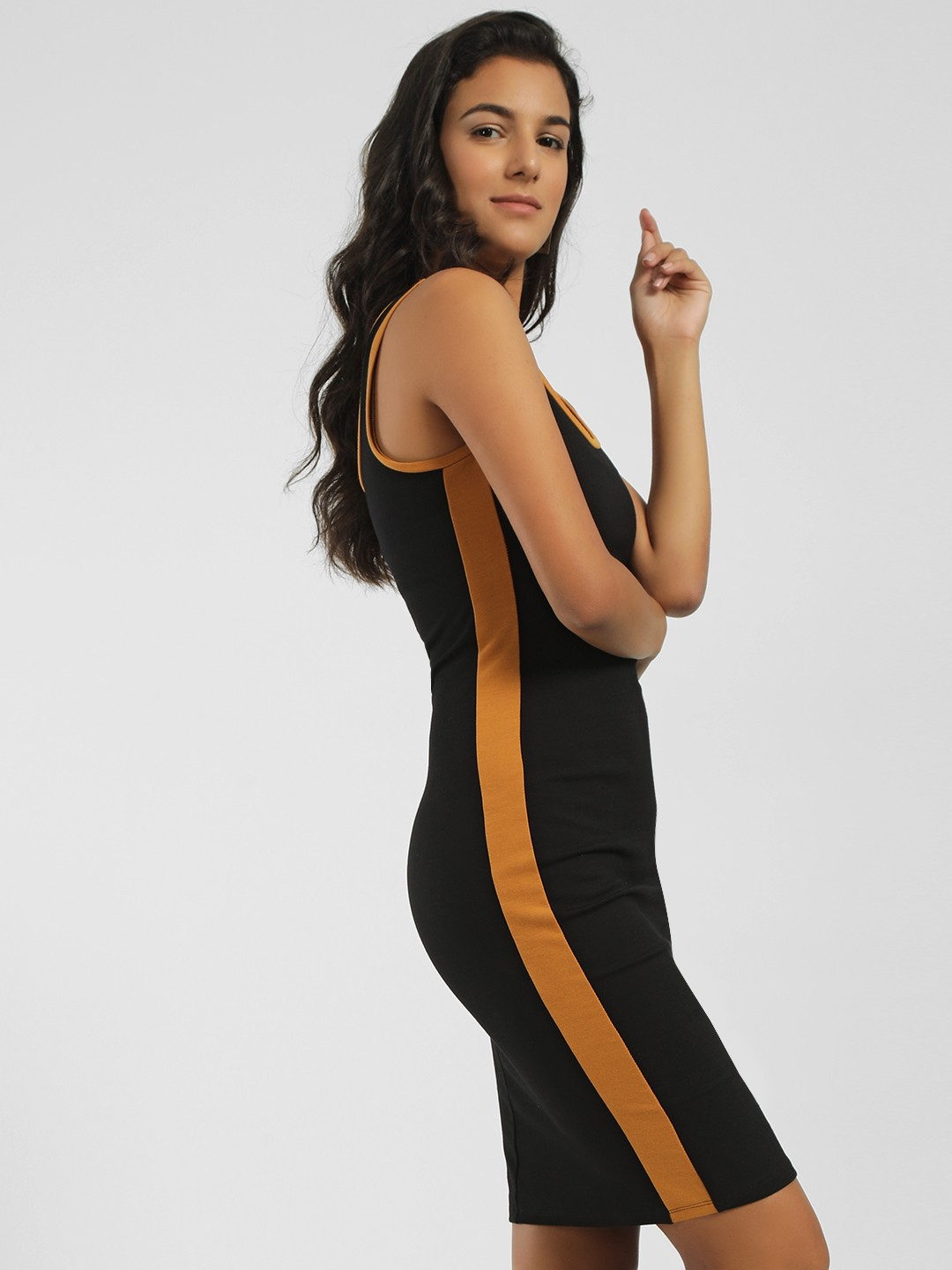 Iris Black Contrast Side Stripe Bodycon Dress 1